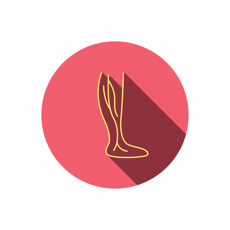 Phlebology icon. Leg veins sign. Varicose or thrombosis symbol. Red flat circle button. Linear icon with shadow. Vector