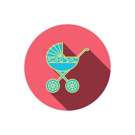 nursing mother: Pram icon. Newborn stroller sign. Child buggy transportation symbol. Red flat circle button. Linear icon with shadow. Vector