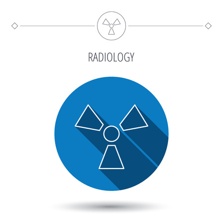radiology: Radiation icon. Radiology sign. Blue flat circle button. Linear icon with shadow. Vector