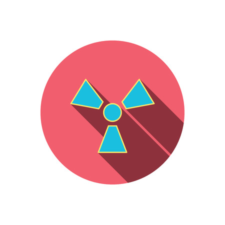 radiology: Radiation icon. Radiology sign. Red flat circle button. Linear icon with shadow. Vector