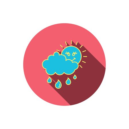 overcast: Rain and sun icon. Water drops and cloud sign. Rainy overcast day symbol. Red flat circle button. Linear icon with shadow. Vector Illustration
