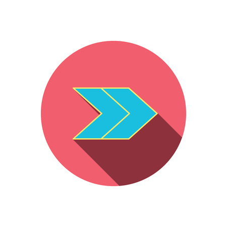 blue arrow: Right arrow icon. Next sign. Forward direction symbol. Red flat circle button. Linear icon with shadow. Vector