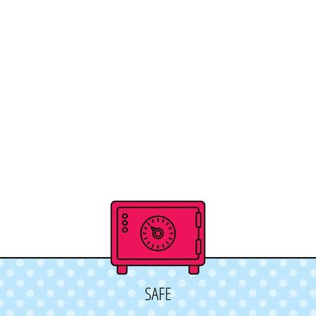 combination safe: Safe icon. Money deposit sign. Combination lock symbol. Circles seamless pattern. Background with red icon. Vector Illustration