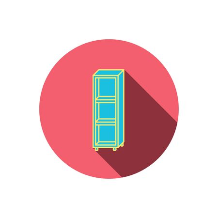 shelving: Empty shelves icon. Shelving sign. Red flat circle button. Linear icon with shadow. Vector Illustration