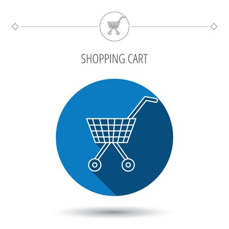affiliation: Shopping cart icon. Market buying sign. Blue flat circle button. Linear icon with shadow. Vector