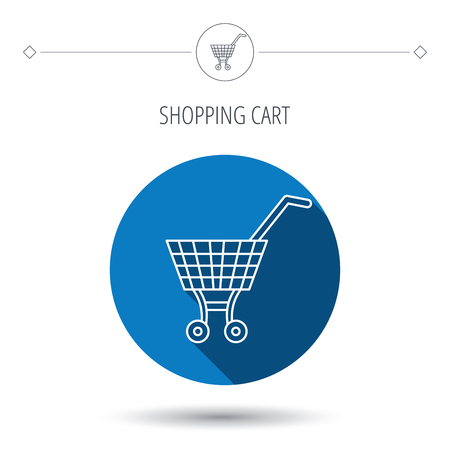 dealings: Shopping cart icon. Market buying sign. Blue flat circle button. Linear icon with shadow. Vector