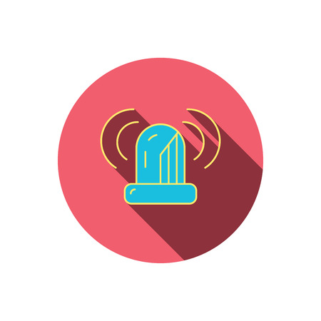 flashing: Siren alarm icon. Alert flashing light sign. Red flat circle button. Linear icon with shadow. Vector Illustration