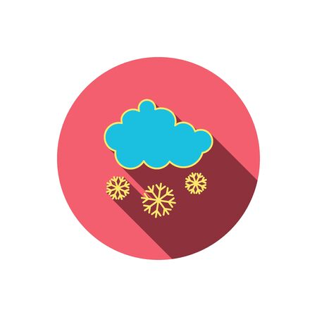 overcast: Snow icon. Snowflakes with cloud sign. Snowy overcast symbol. Red flat circle button. Linear icon with shadow. Vector Illustration