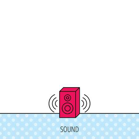 red sound: Sound icon. Musical speaker sign. Circles seamless pattern. Background with red icon. Vector
