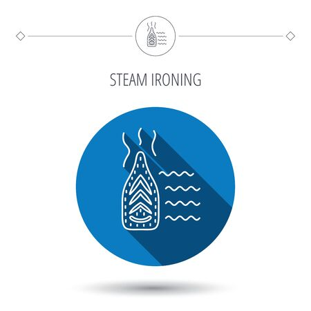 flat iron: Steam ironing icon. Iron housework tool sign. Blue flat circle button. Linear icon with shadow. Vector