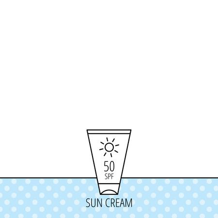sun lotion: Dom icono de contenedor crema. Signo loci�n Beach. C�rculos sin patr�n. Fondo con el icono. Vector