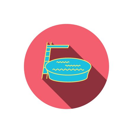 jumping into water: Swimming pool icon. Jumping into water sign. Red flat circle button. Linear icon with shadow. Vector Illustration
