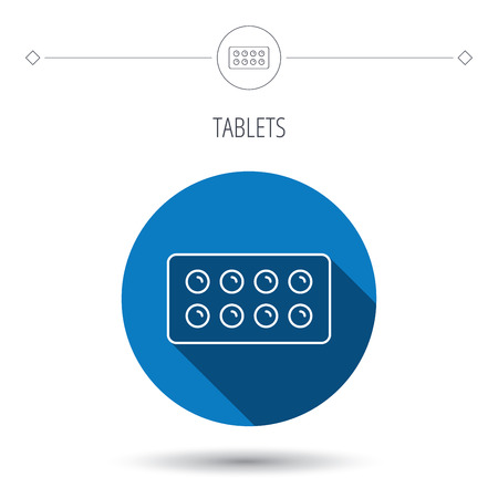 painkiller: Tablets icon. Medical pills sign. Painkiller drugs symbol. Blue flat circle button. Linear icon with shadow. Vector Illustration