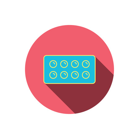 painkiller: Tablets icon. Medical pills sign. Painkiller drugs symbol. Red flat circle button. Linear icon with shadow. Vector