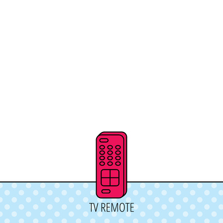switching: Remote control icon. TV switching channels sign. Circles seamless pattern. Background with red icon. Vector Illustration