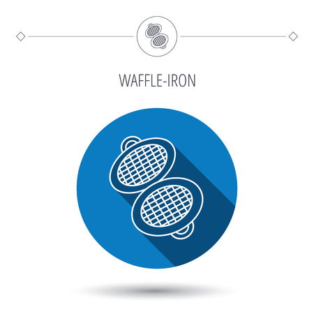 flat iron: Waffle iron icon. Kitchen baking tool sign. Blue flat circle button. Linear icon with shadow. Vector Illustration