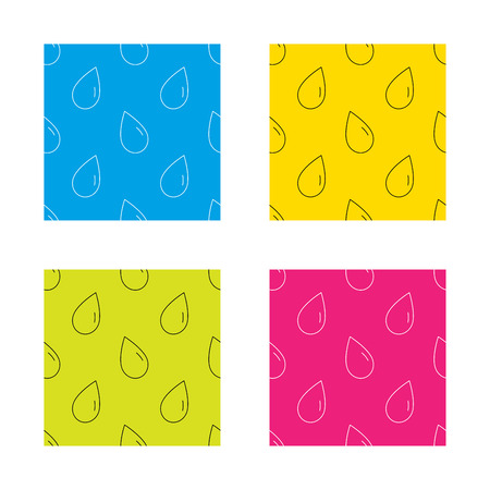 freshness: Water drop icon. Liquid sign. Freshness, condensation or washing symbol. Textures with icon. Seamless patterns set. Vector Illustration