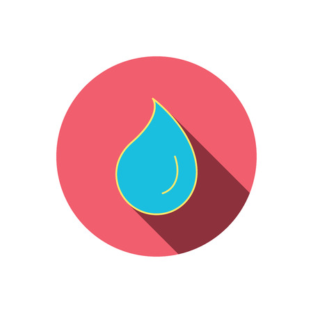 washing symbol: Water drop icon. Liquid sign. Freshness, condensation or washing symbol. Red flat circle button. Linear icon with shadow. Vector