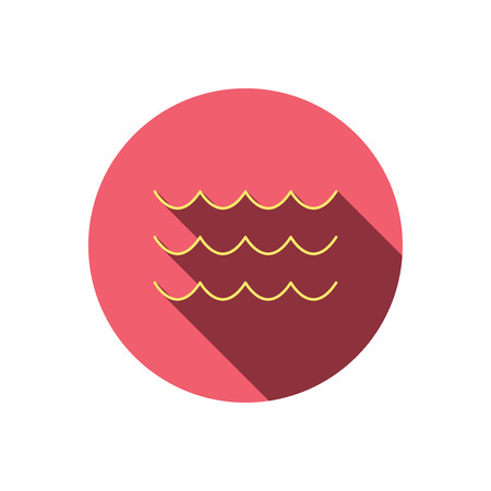 sea water: Waves icon. Sea flowing sign. Water symbol. Red flat circle button. Linear icon with shadow. Vector