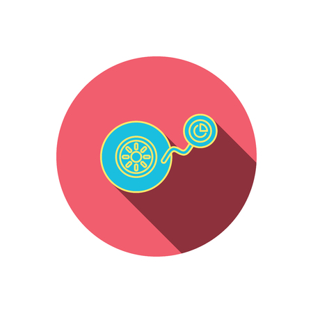 flaring: Wheel pressure icon. Tire service sign. Red flat circle button. Linear icon with shadow. Vector Illustration