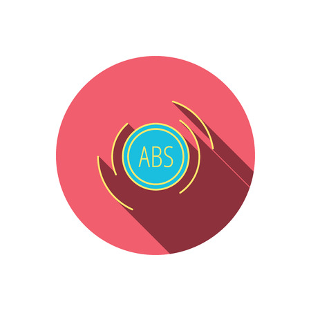 brakes: ABS icon. Brakes antilock system sign. Red flat circle button. Linear icon with shadow. Vector Illustration