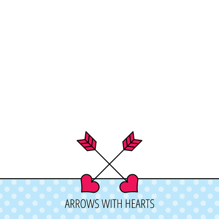 longbow: Love arrows icon. Amour equipment sign. Archer weapon with hearts symbol. Circles seamless pattern. Background with red icon. Vector Illustration