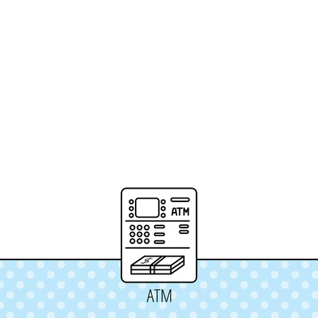 withdrawal: ATM icon. Automatic cash withdrawal sign. Circles seamless pattern. Background with icon. Vector