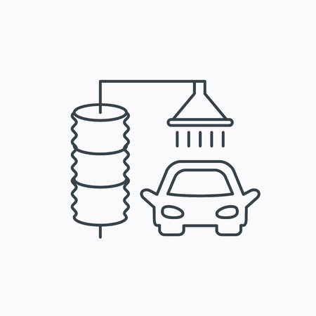 carwash: Automatic carwash icon. Cleaning station sign. Linear outline icon on white background. Vector