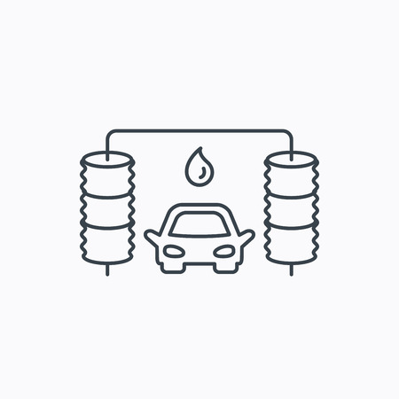 operated: Automatic carwash icon. Cleaning station with water drop sign. Linear outline icon on white background. Vector