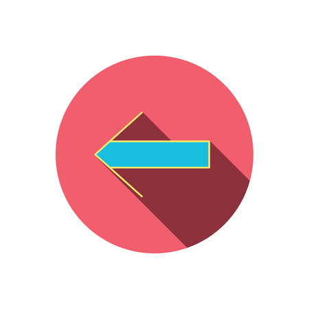 back arrow: Back arrow icon. Previous sign. Left direction symbol. Red flat circle button. Linear icon with shadow. Vector