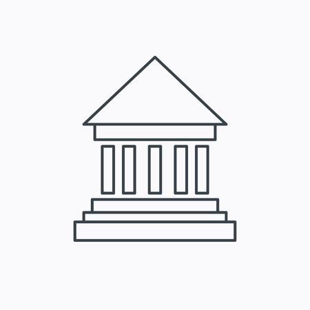 perspectiva lineal: Icono de la batería. Muestra de la casa Corte. Símbolo de la inversión del dinero. Icono de contorno lineal sobre fondo blanco. Vector