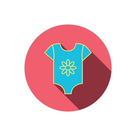romper: Newborn clothes icon. Baby shirt wear sign. Flower symbol. Red flat circle button. Linear icon with shadow. Vector Illustration