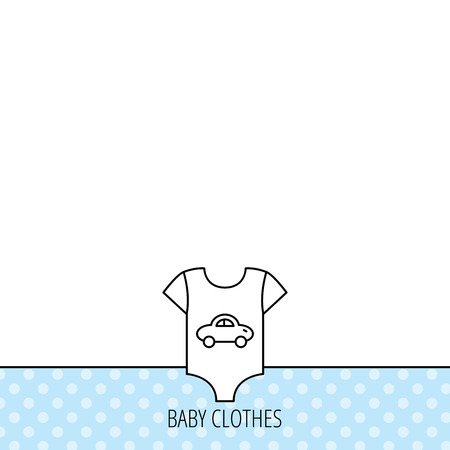 romper suit: Newborn clothes icon. Baby shirt wear sign. Car symbol. Circles seamless pattern. Background with icon. Vector Illustration