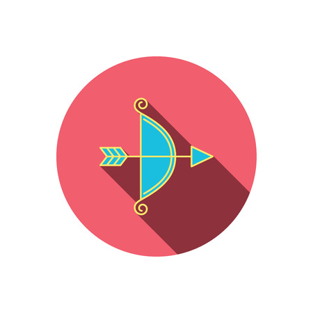 bowstring: Bow with arrow icon. Valentine weapon sign. Red flat circle button. Linear icon with shadow. Vector Illustration