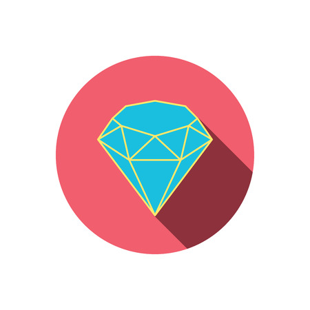 gemstone: Brilliant icon. Diamond gemstone sign. Red flat circle button. Linear icon with shadow. Vector