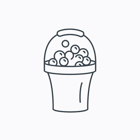 soapy: Bucket with foam icon. Soapy cleaning sign. Linear outline icon on white background. Vector Illustration