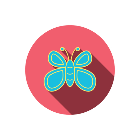 lepidoptera: Butterfly icon. Flying lepidoptera sign. Dreaming symbol. Red flat circle button. Linear icon with shadow. Vector