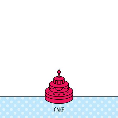 甘い食べ物: ケーキのアイコン。誕生日デザート記号。キャンドルのシンボルと甘い食べ物。サークルのシームレスなパターン。背景に赤のアイコン。ベクトル  イラスト・ベクター素材