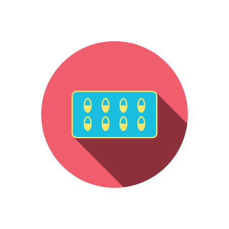 a tablet blister: Medical capsules icon. Medicine drugs sign. Red flat circle button. Linear icon with shadow. Vector Illustration