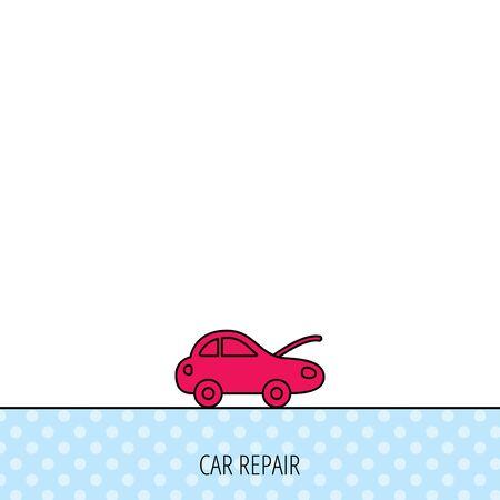 overhaul: Icona di riparazione auto. Meccanico segno servizio. Circles seamless pattern. Sfondo con icona rossa. Vettore Vettoriali