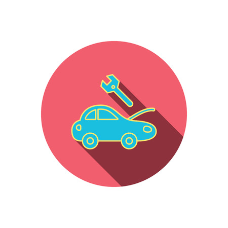 overhaul: Car service icon. Transport repair with wrench key sign. Red flat circle button. Linear icon with shadow. Vector