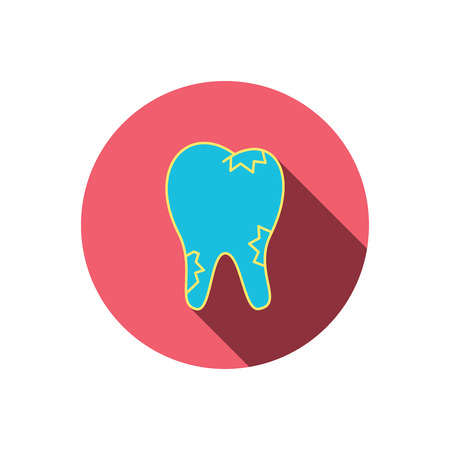 paradontosis: Caries icon. Tooth health sign. Red flat circle button. Linear icon with shadow. Vector Illustration