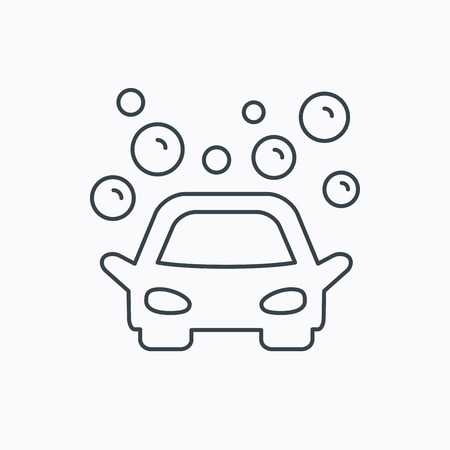 foam bubbles: Car wash icon. Cleaning station sign. Foam bubbles symbol. Linear outline icon on white background. Vector