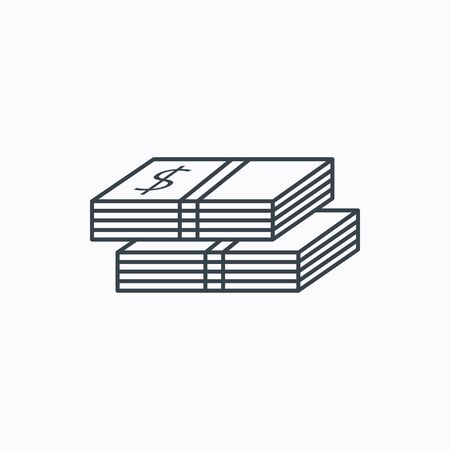 wads: Cash icon. Dollar money sign. USD currency symbol. 2 wads of money. Linear outline icon on white background. Vector