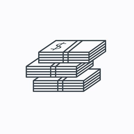 wads: Cash icon. Dollar money sign. USD currency symbol. 3 wads of money. Linear outline icon on white background. Vector