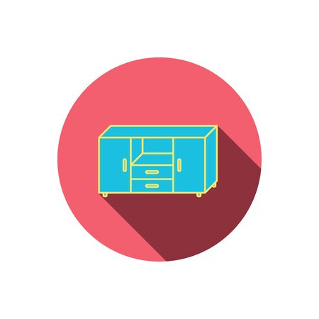 commode: Chest of drawers icon. Interior commode sign. Red flat circle button. Linear icon with shadow. Vector