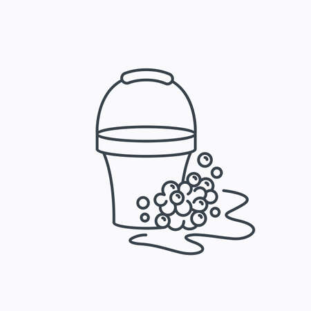 soapy: Soapy cleaning icon. Bucket with foam and bubbles sign. Linear outline icon on white background. Vector