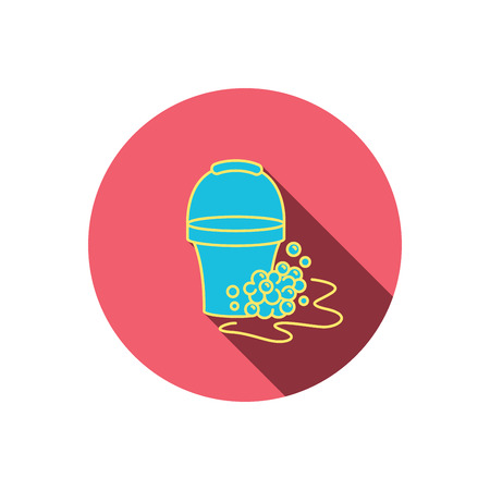 soapy: Soapy cleaning icon. Bucket with foam and bubbles sign. Red flat circle button. Linear icon with shadow. Vector Illustration