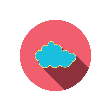 overcast: Cloud icon. Overcast weather sign. Meteorology symbol. Red flat circle button. Linear icon with shadow. Vector