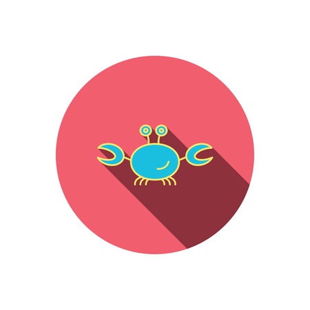 cancer crab: Crab icon. Cancer shellfish sign. Wildlife symbol. Red flat circle button. Linear icon with shadow. Vector